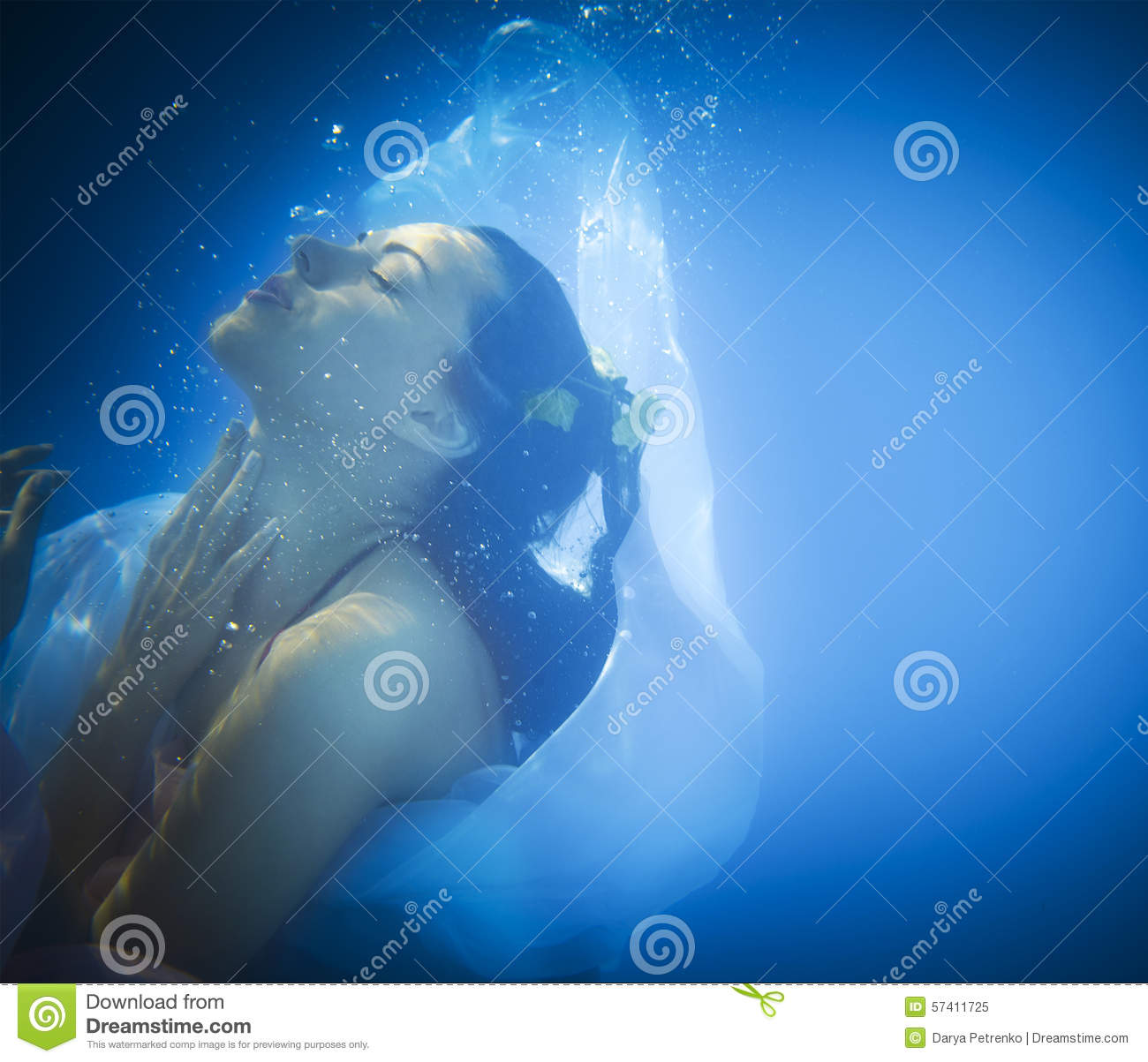 Underwater Close Up Portrait Of A Woman Stock Photo Image 57411725