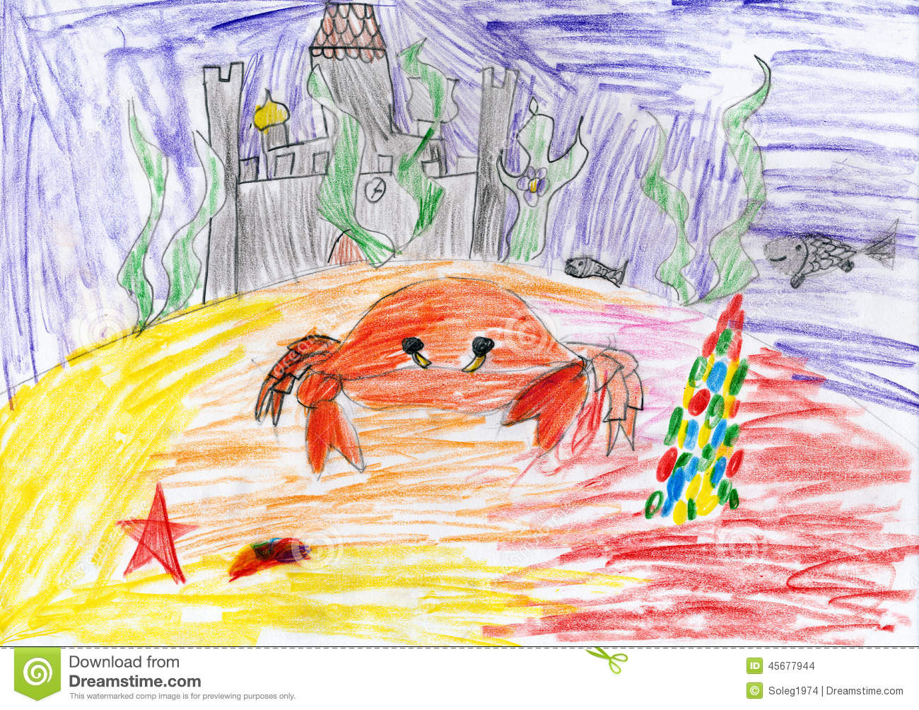 Underwater Crab And Sunken Castle Child Drawing Stock