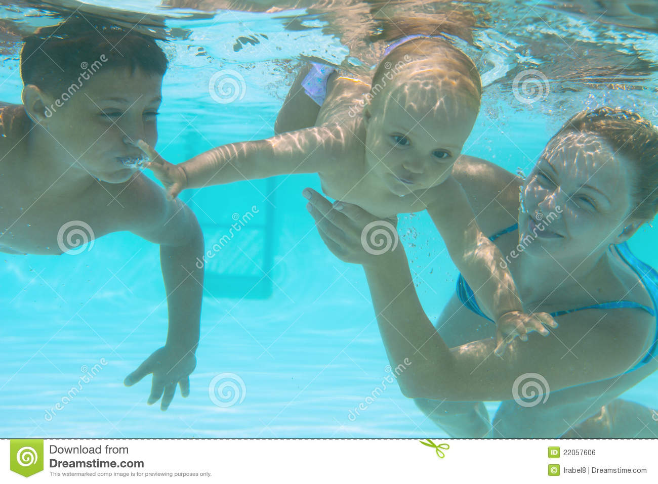 Underwater family in swimming pool royalty free stock for Family swimming pool