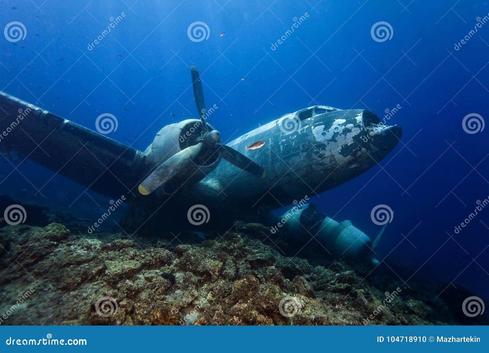 Underwater in Maldives, aircraft wreck from World War II