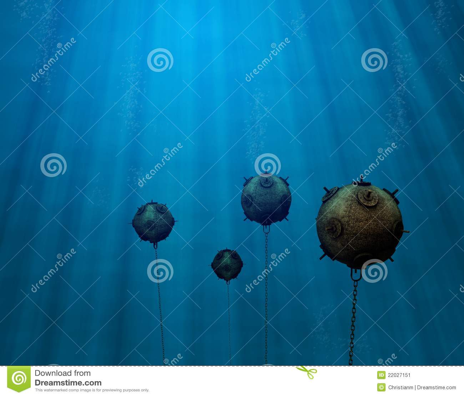 Underwater Mine Field Stock Image Image 22027151