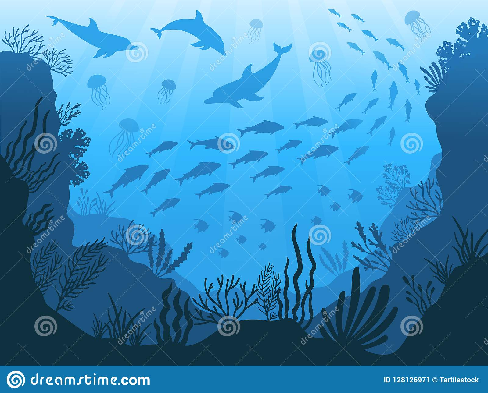 Underwater Ocean Fauna Deep Sea Plants Fishes And Animals Marine