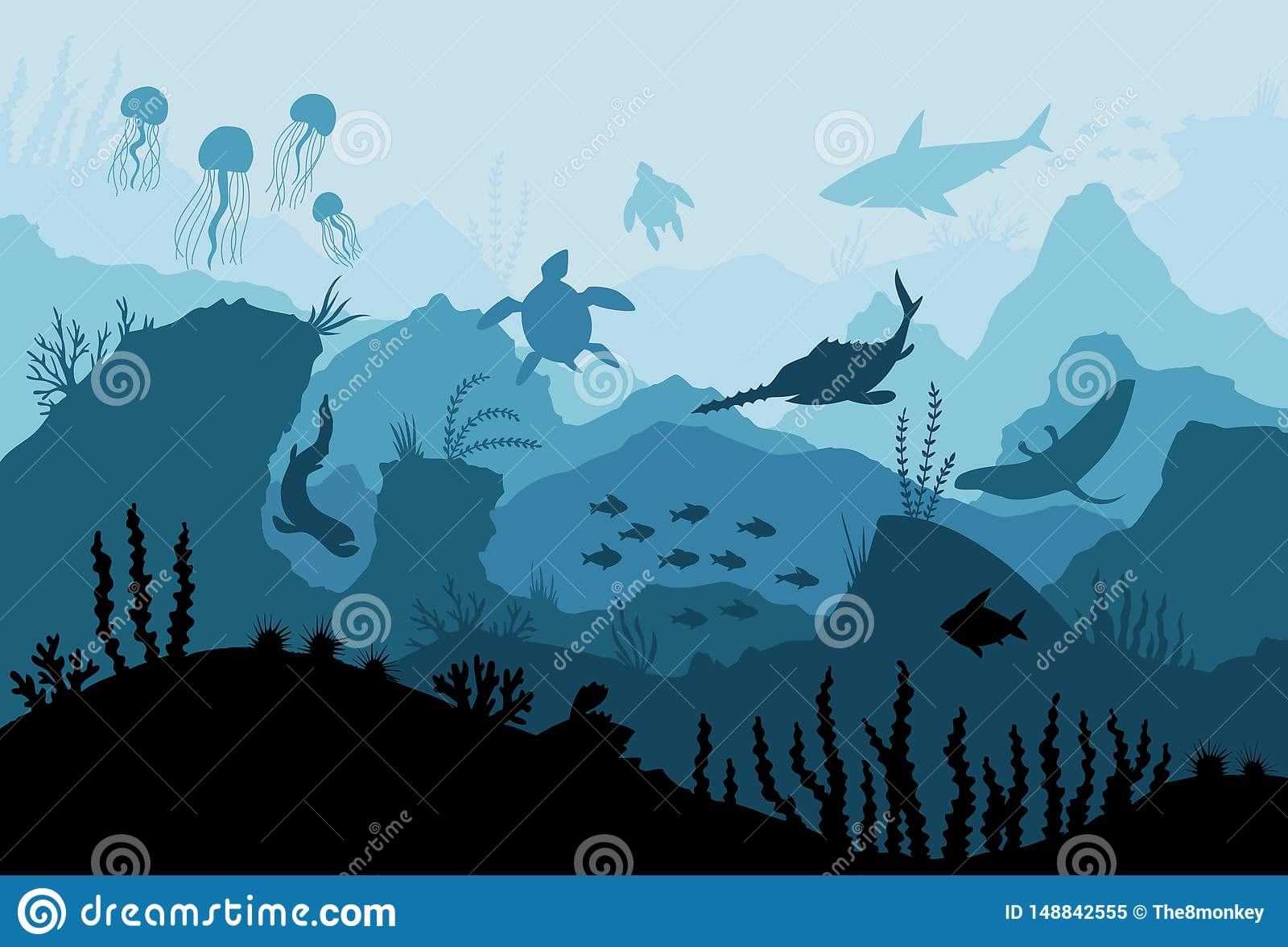 Underwater ocean fauna. Deep sea plants, fishes and animals. Marine seaweed, fish under water and animal silhouette with