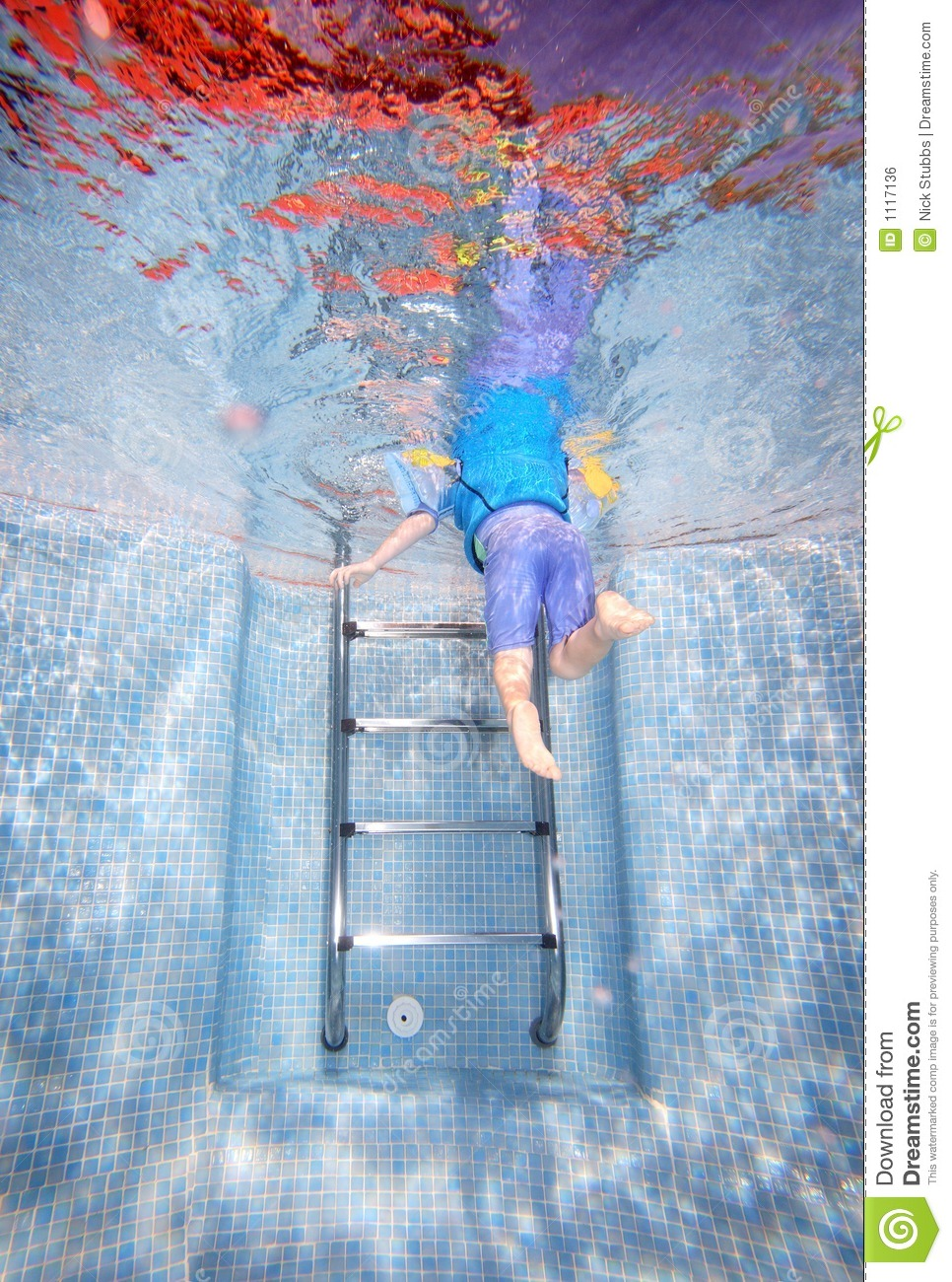 Underwater Photo Of Young Boy Climbing Out Of Swimming Pool Royalty Free Stock Image Image