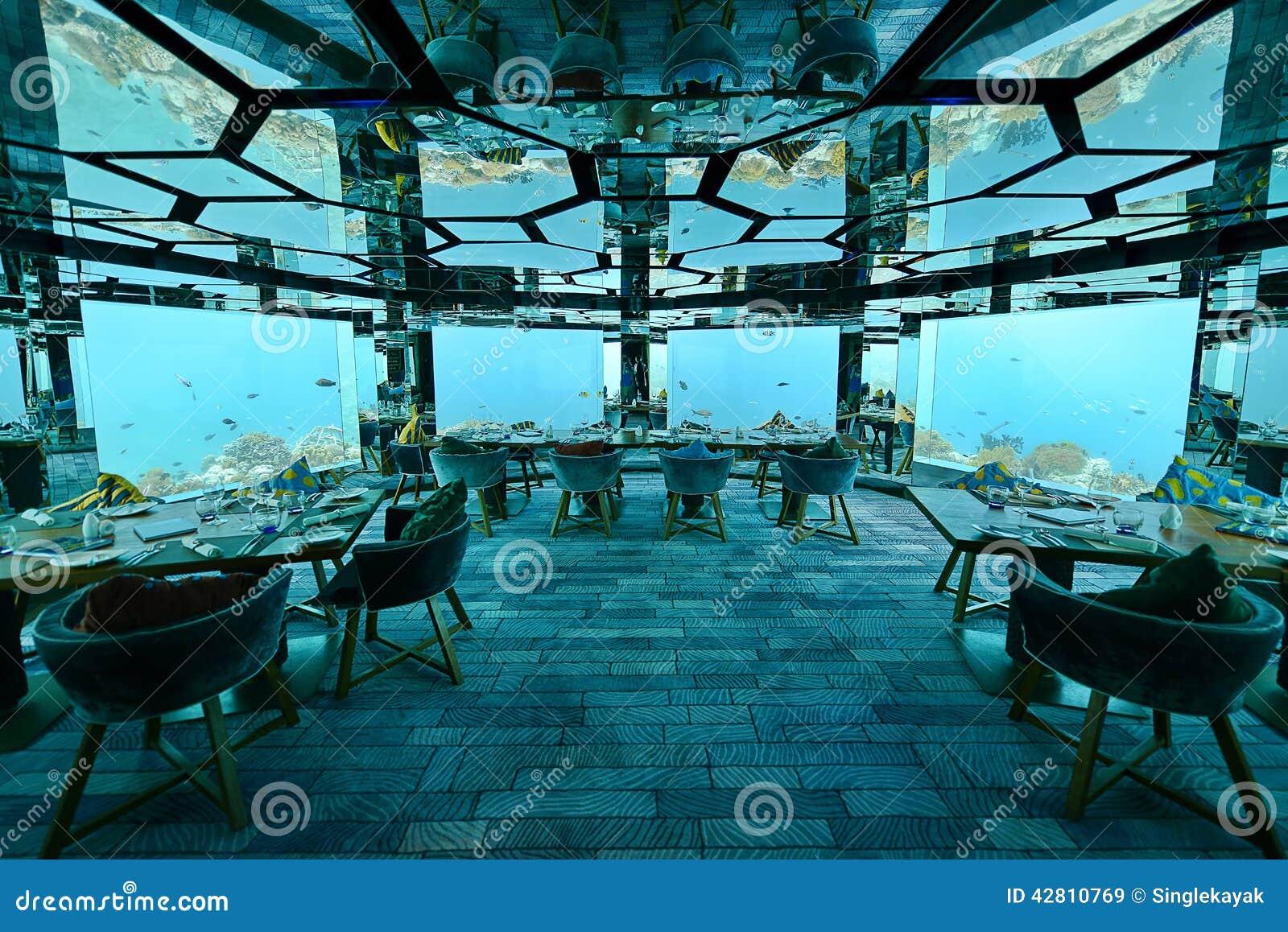 Underwater restaurant stock photo image 42810769 for Maldivas hotel bajo el agua