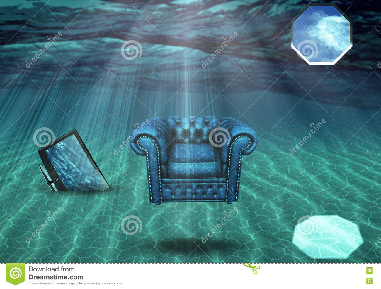 Underwater Room Stock Illustration Image Of Concept