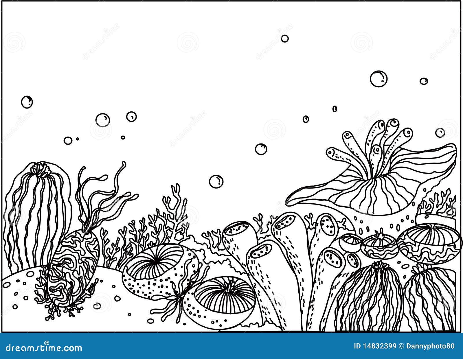 Underwater Ocean Plant Drawings Sketch Coloring Page