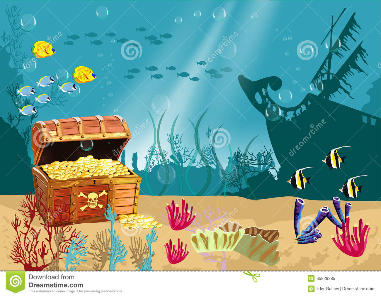 Underwater Scenery With An Open Pirate Treasure Chest Stock Vector ...