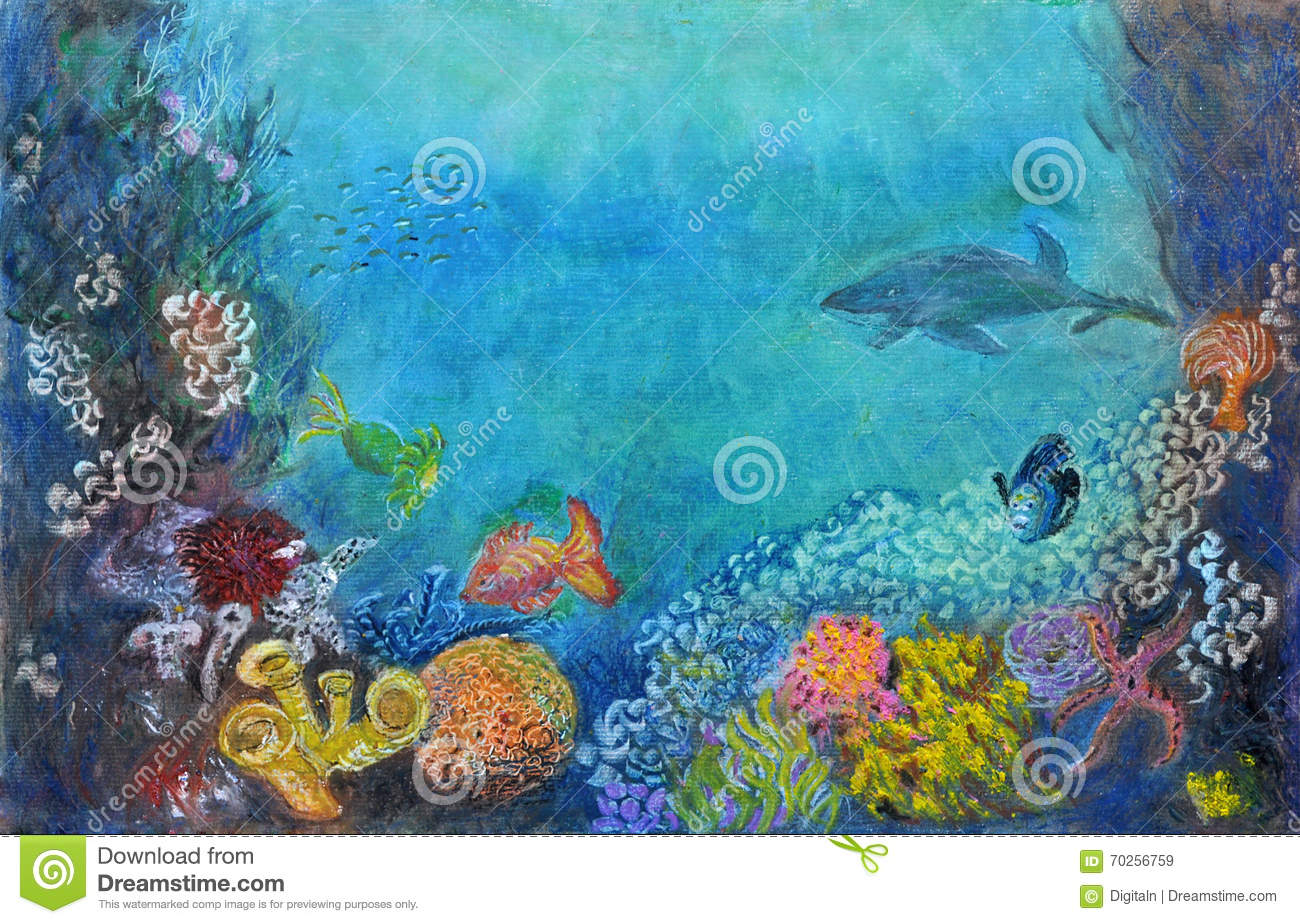 Underwater scenery stock illustration illustration of for Fish scenery drawing