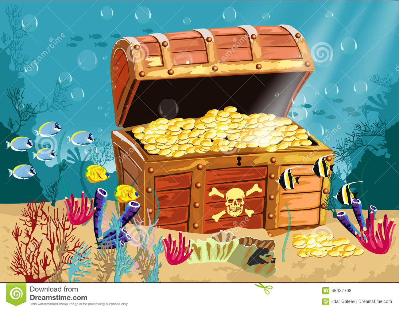 underwater scenery with a treasure chest stock illustration