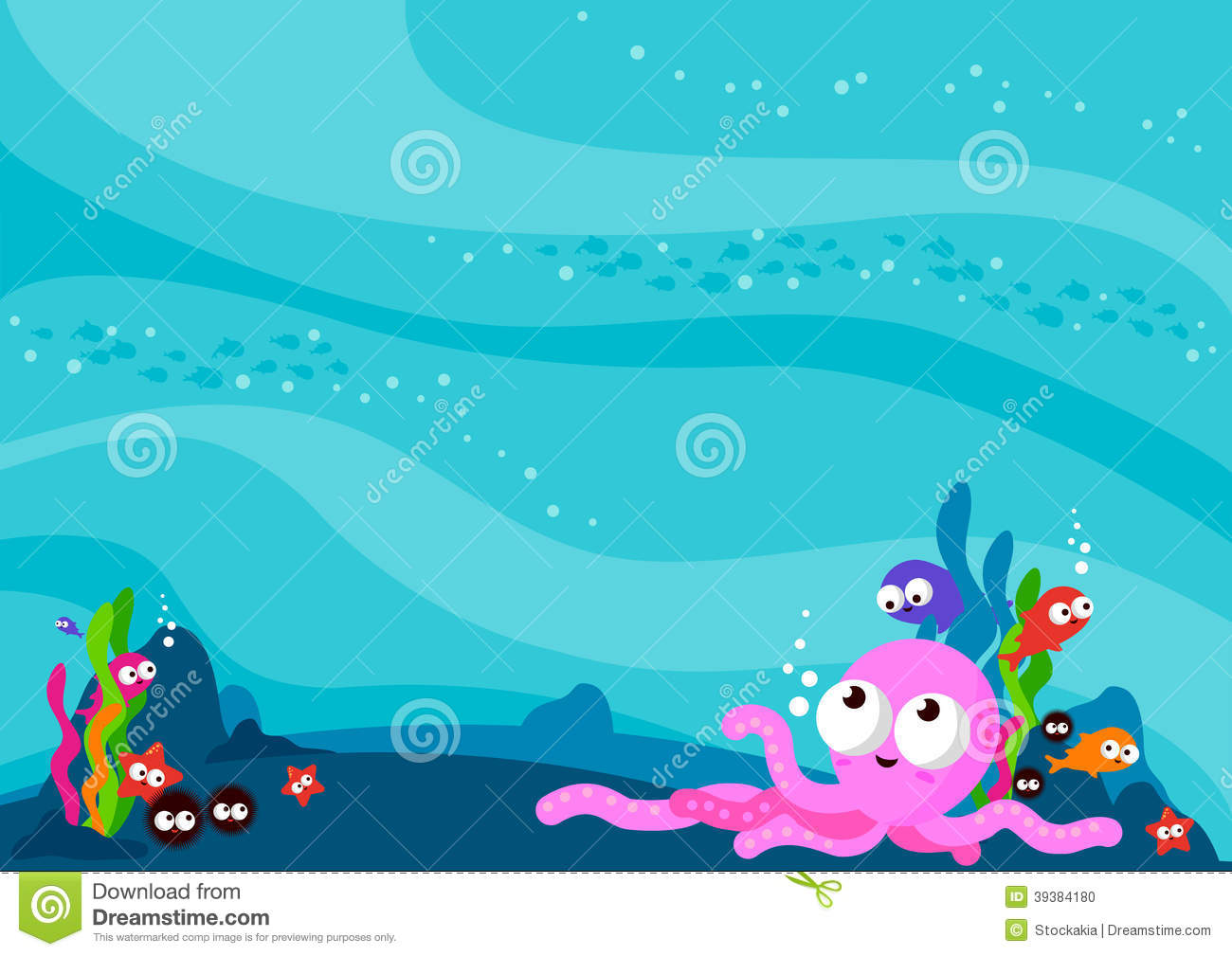 Underwater Sea Animals Background Stock Vector ...