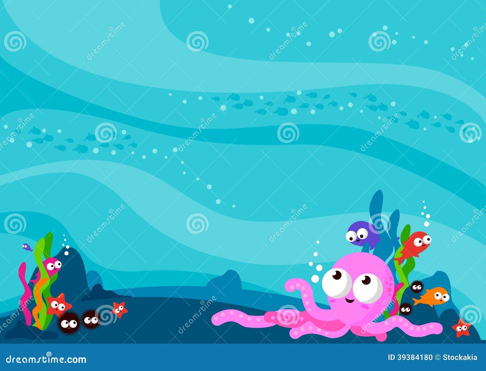 Underwater Sea Animals Background Stock Vector - Image ...