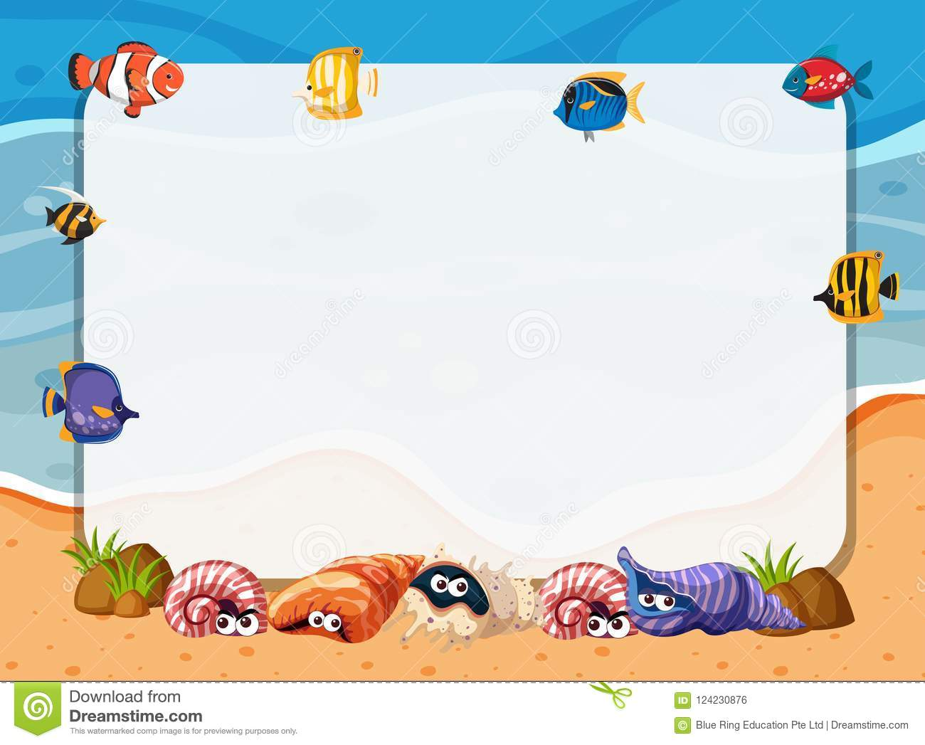 Sea Creatures Frame Stock Illustrations – 211 Sea ...