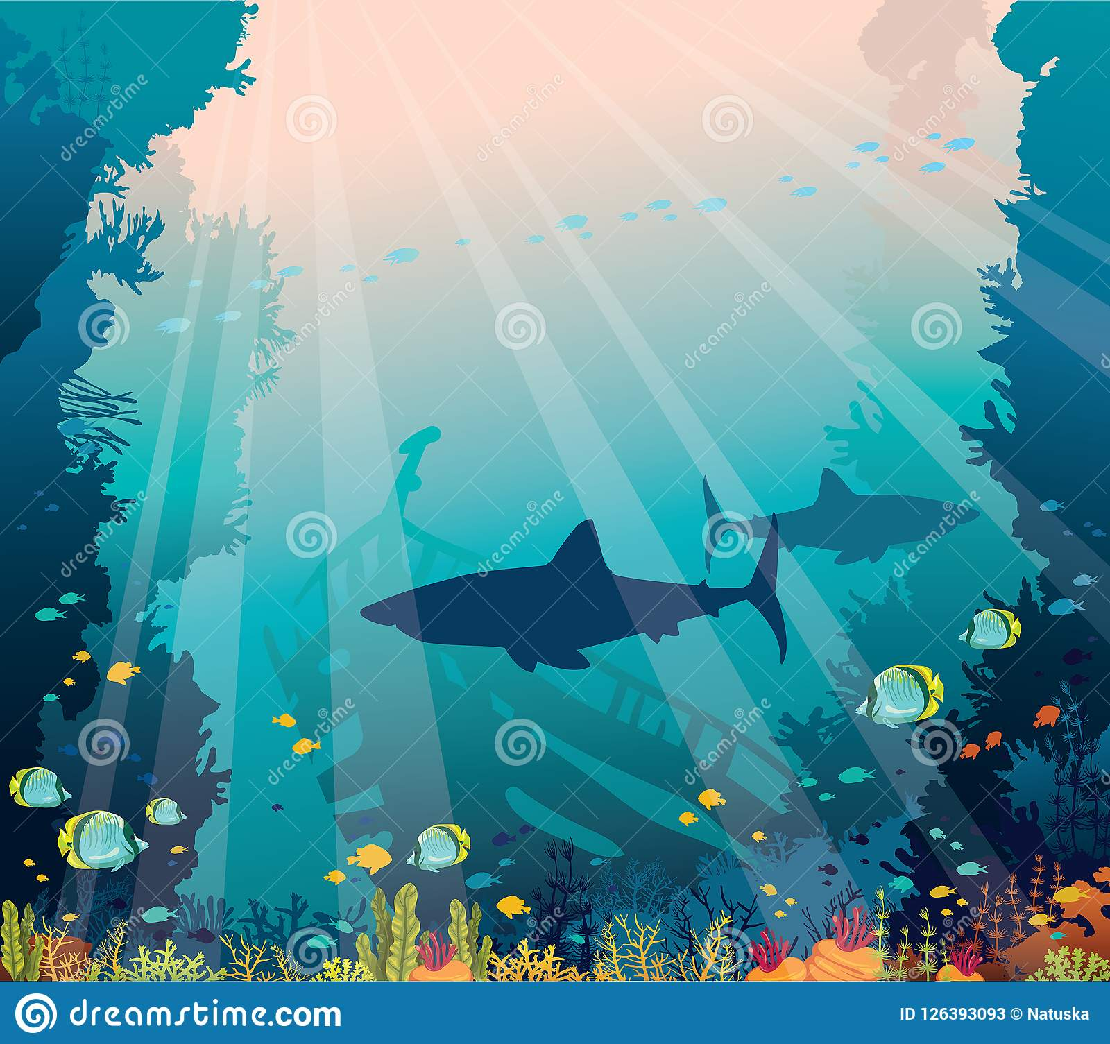 Underwater Sea - Sharks, Coral Reef And Sunken Ship  Stock