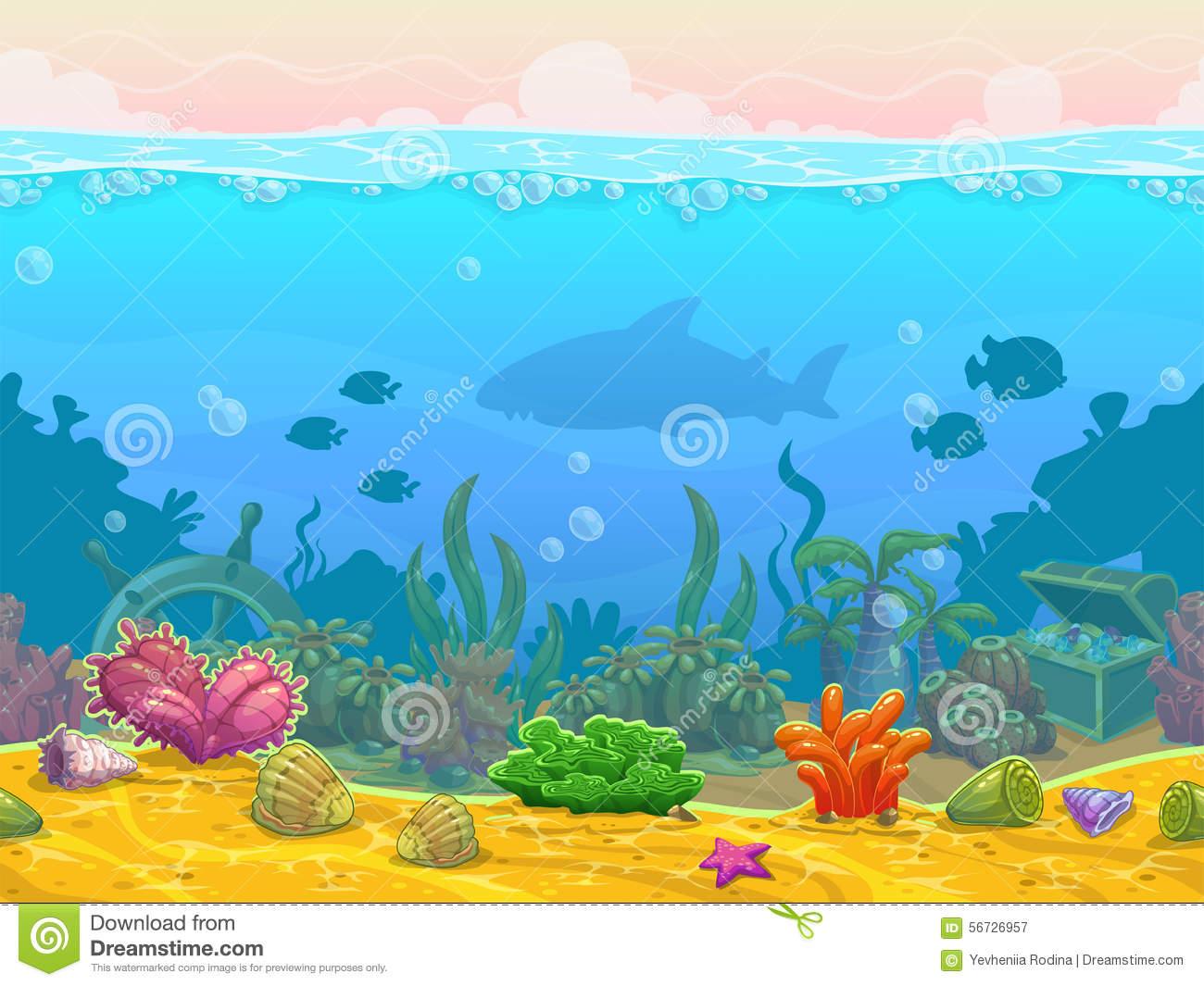 underwater seamless landscape stock illustration image