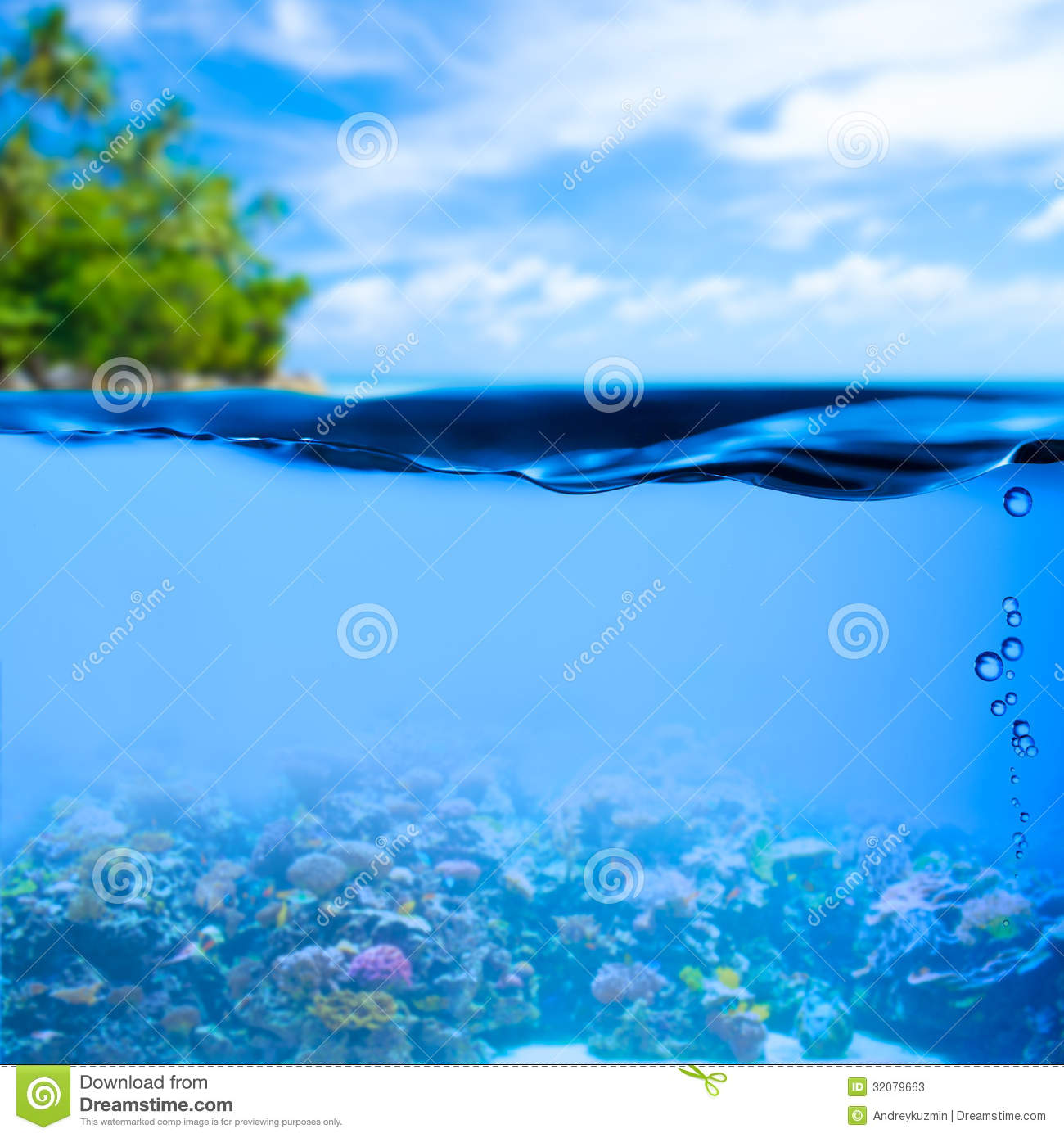 Underwater tropical sea water surface background