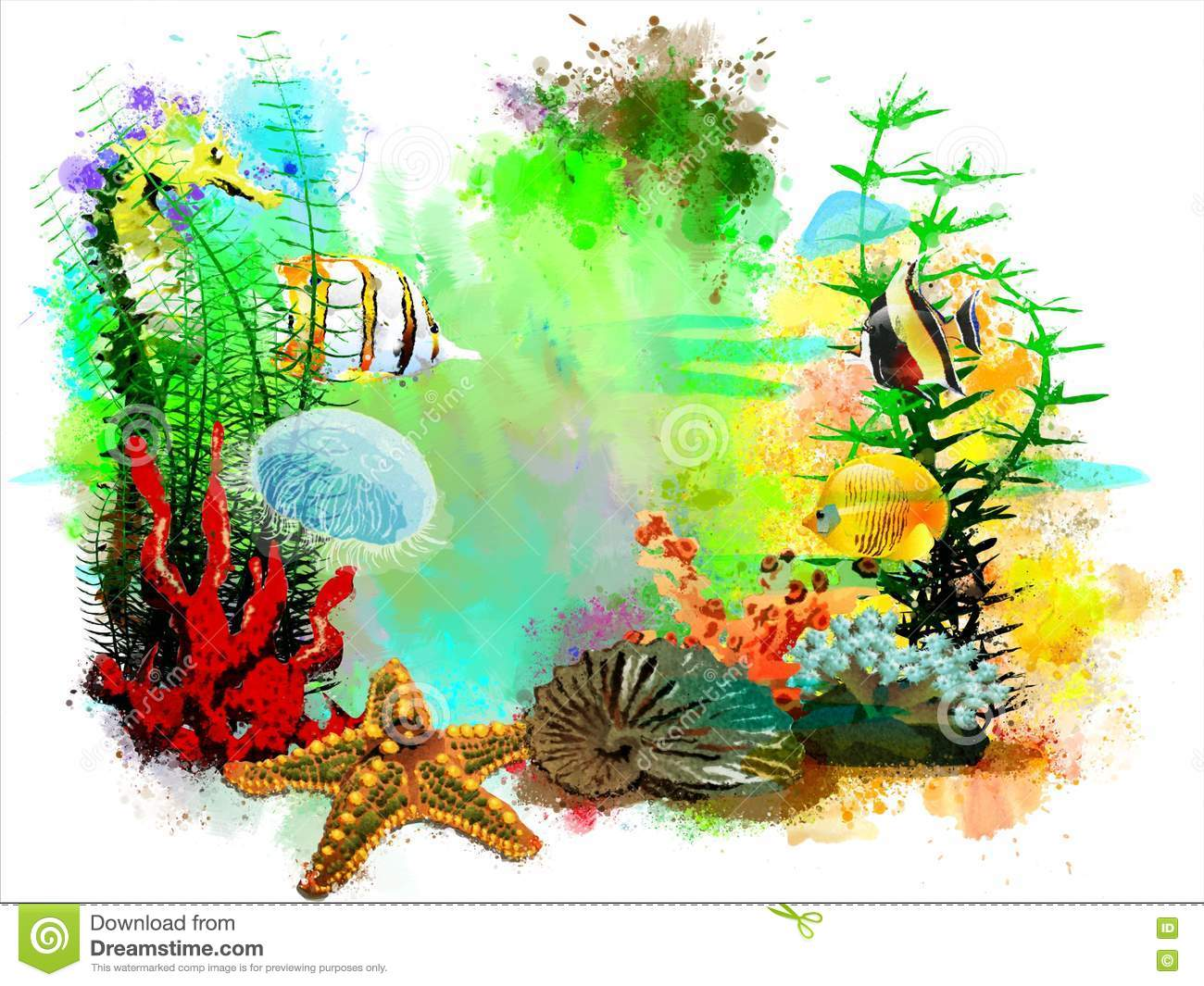 Underwater tropical world on an abstract watercolor background.