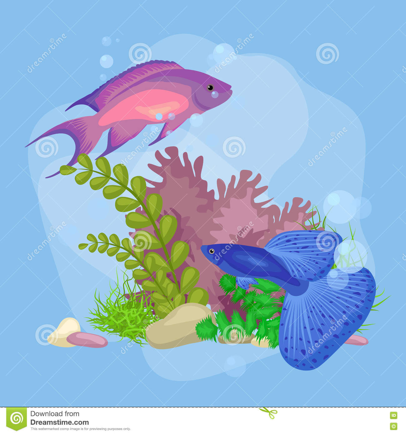 Underwater world vector illustration background stock for Bubble fish game