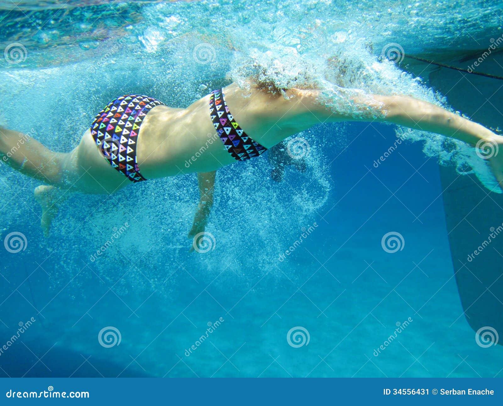 Underwater View Of Swimming Girl Stock Image Image 34556431