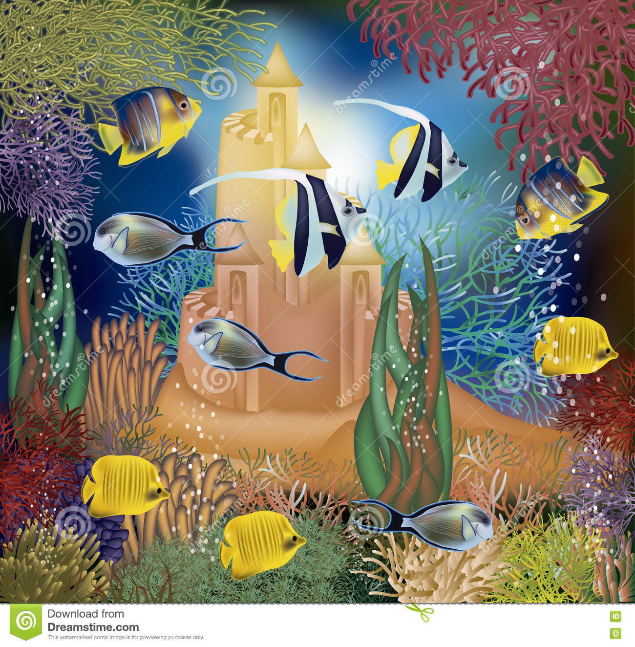 Underwater Castle And Coral Reef Royalty Free Cartoon