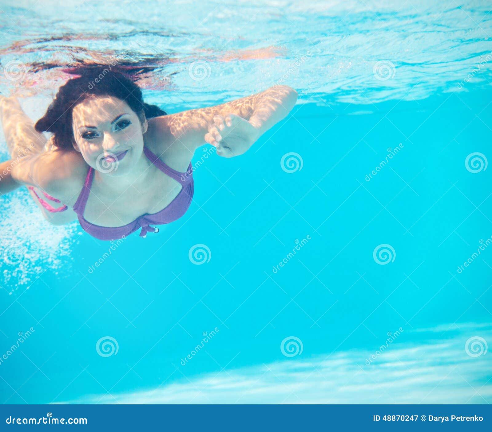 Underwater Woman Portrait In Swimming Pool Stock Photo Image 48870247