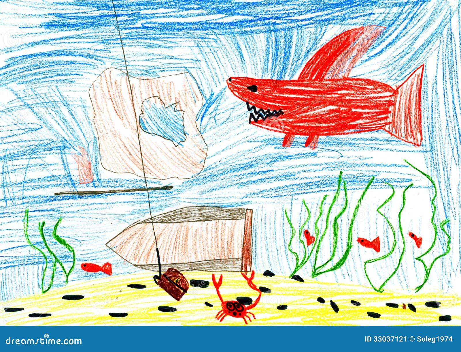 Underwater World. Child Drawing. Stock Image - Image of ...