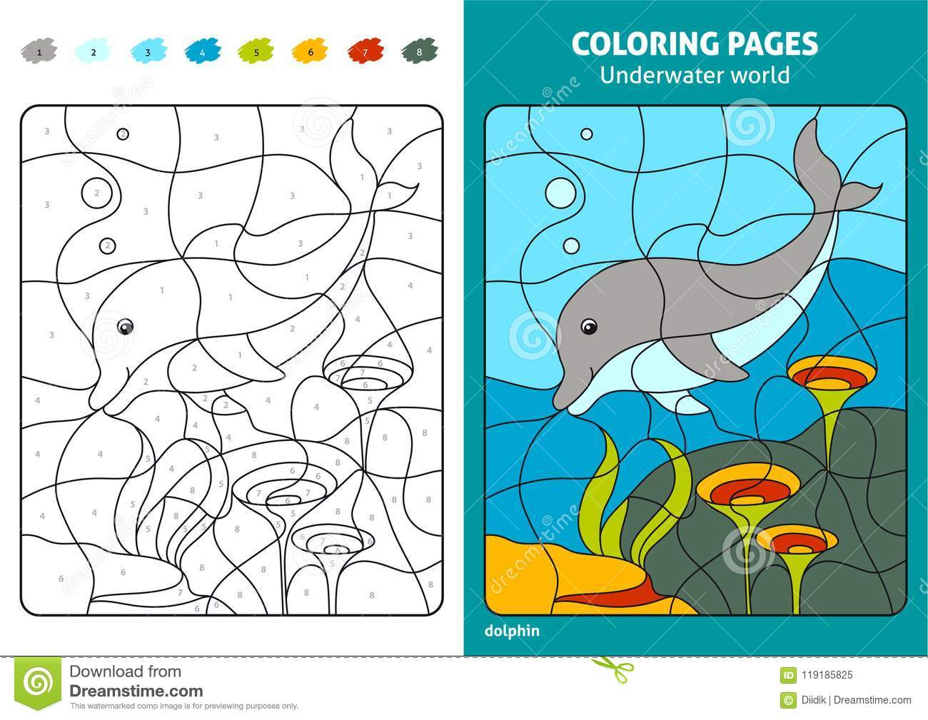 Underwater World Coloring Page For Kids, Dolphin. Stock ...