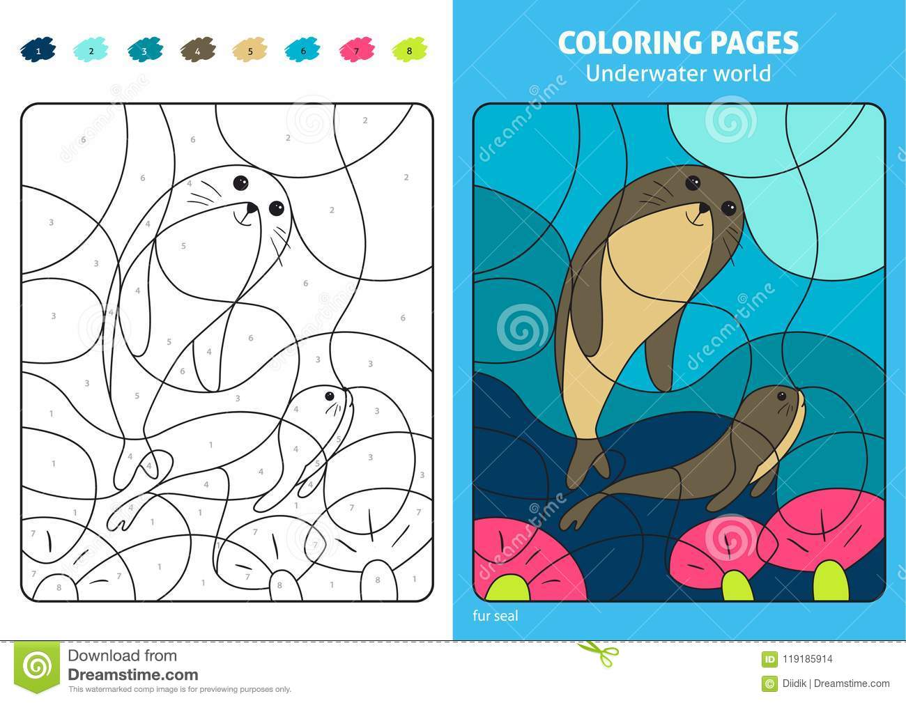 Underwater World Coloring Page For Kids, Fur Seal. Stock Vector ...