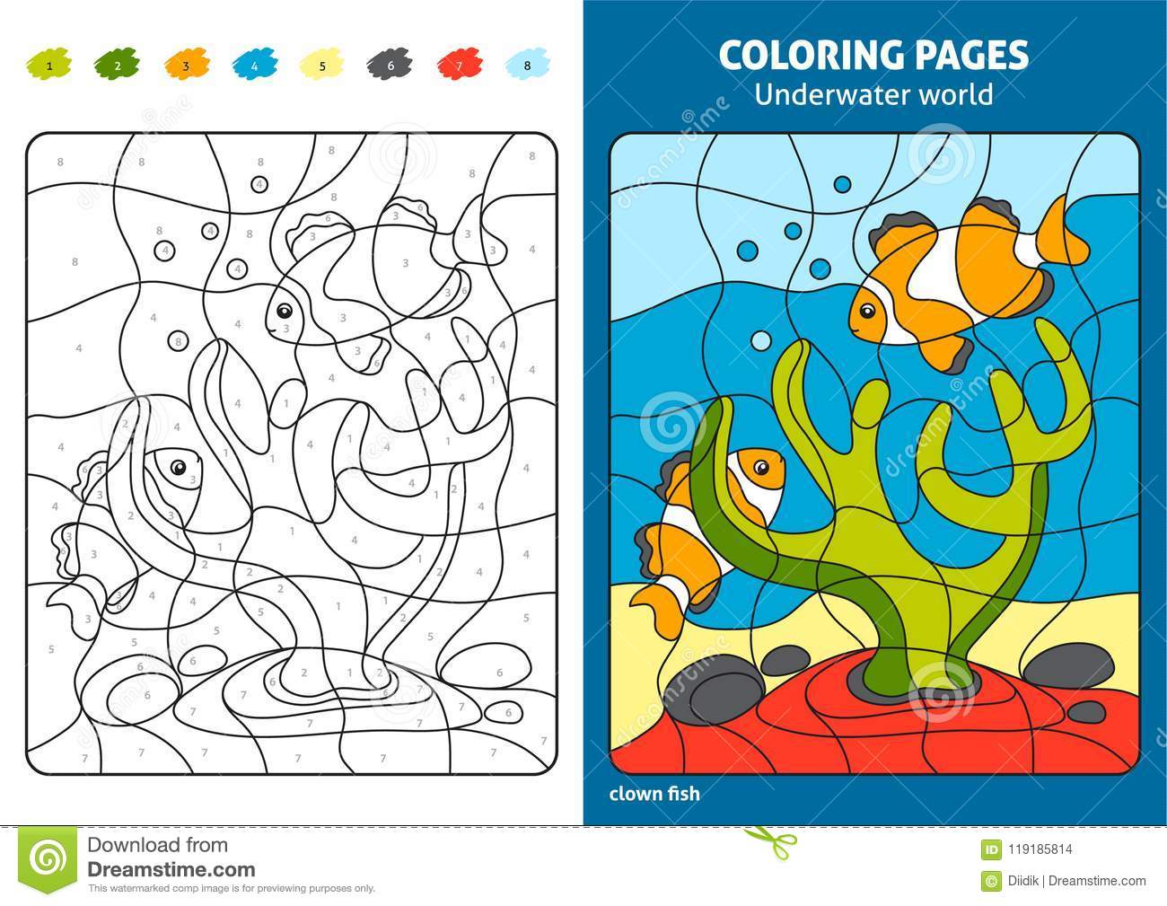Underwater World Coloring Page For Kids Reef Fish Stock Vector Illustration Of Color Coloration 119185814