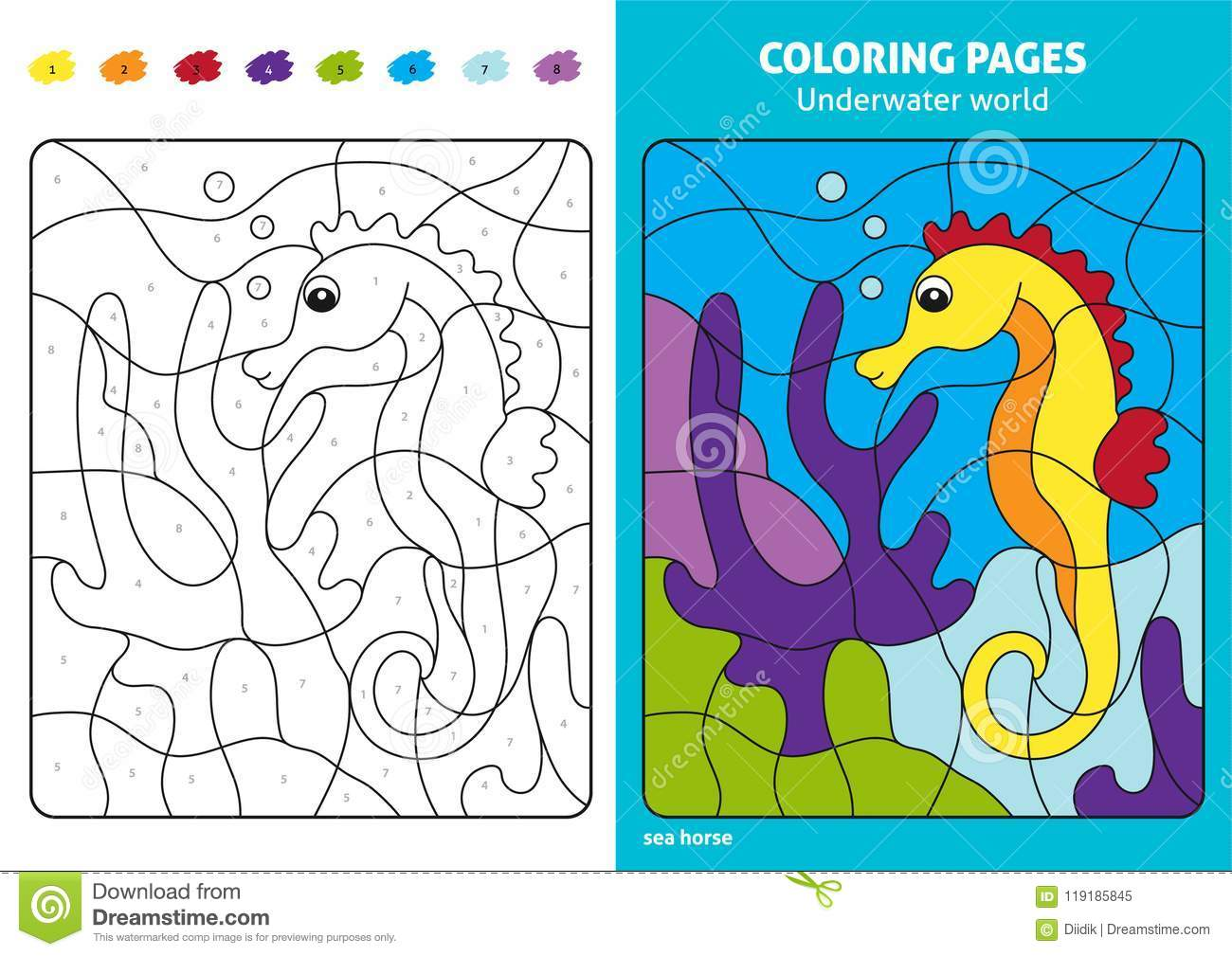 Underwater World Coloring Page For Kids, Sea Horse. Stock Vector ...