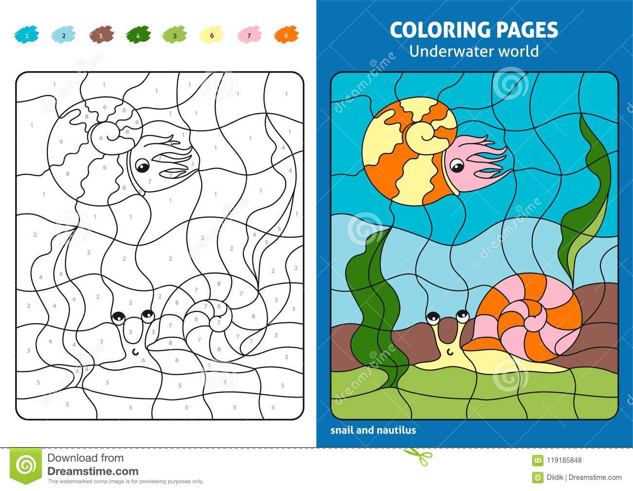 Underwater World Coloring Page For Kids, Snail And Nautilus. Stock ...