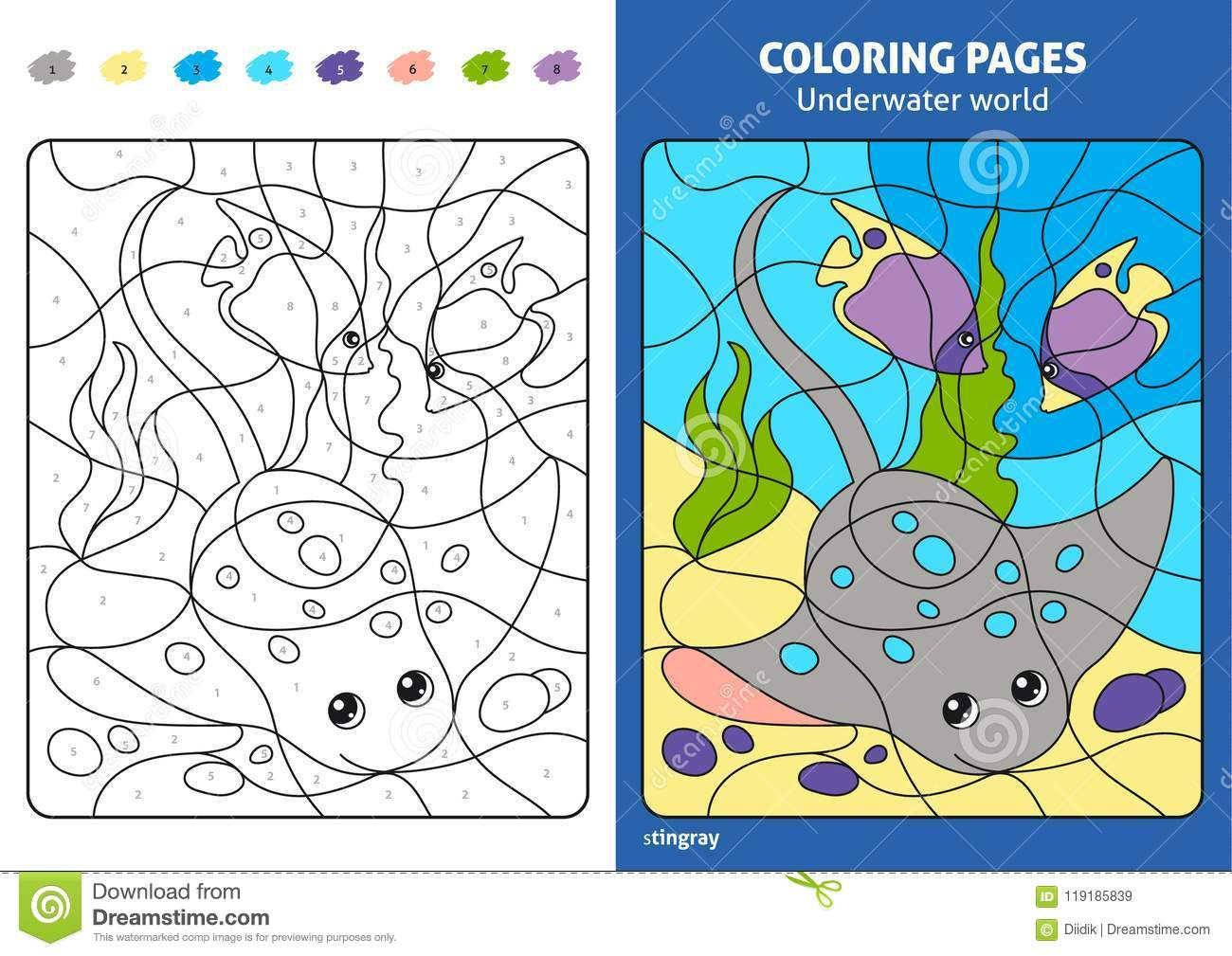 Underwater World Coloring Page For Kids, Stingray. Stock Vector ...