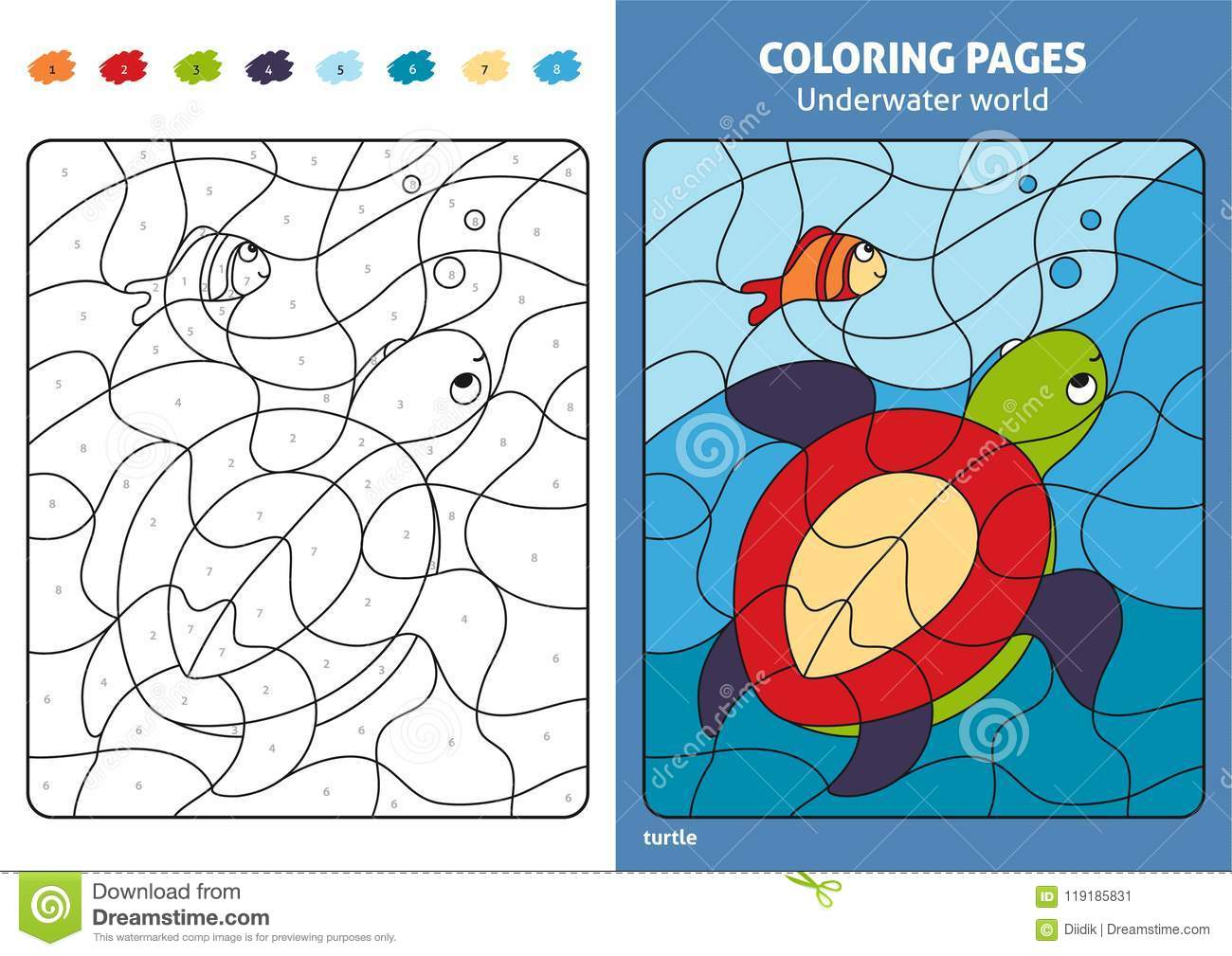 Underwater World Coloring Page For Kids, Turtle And Fish. Stock ...