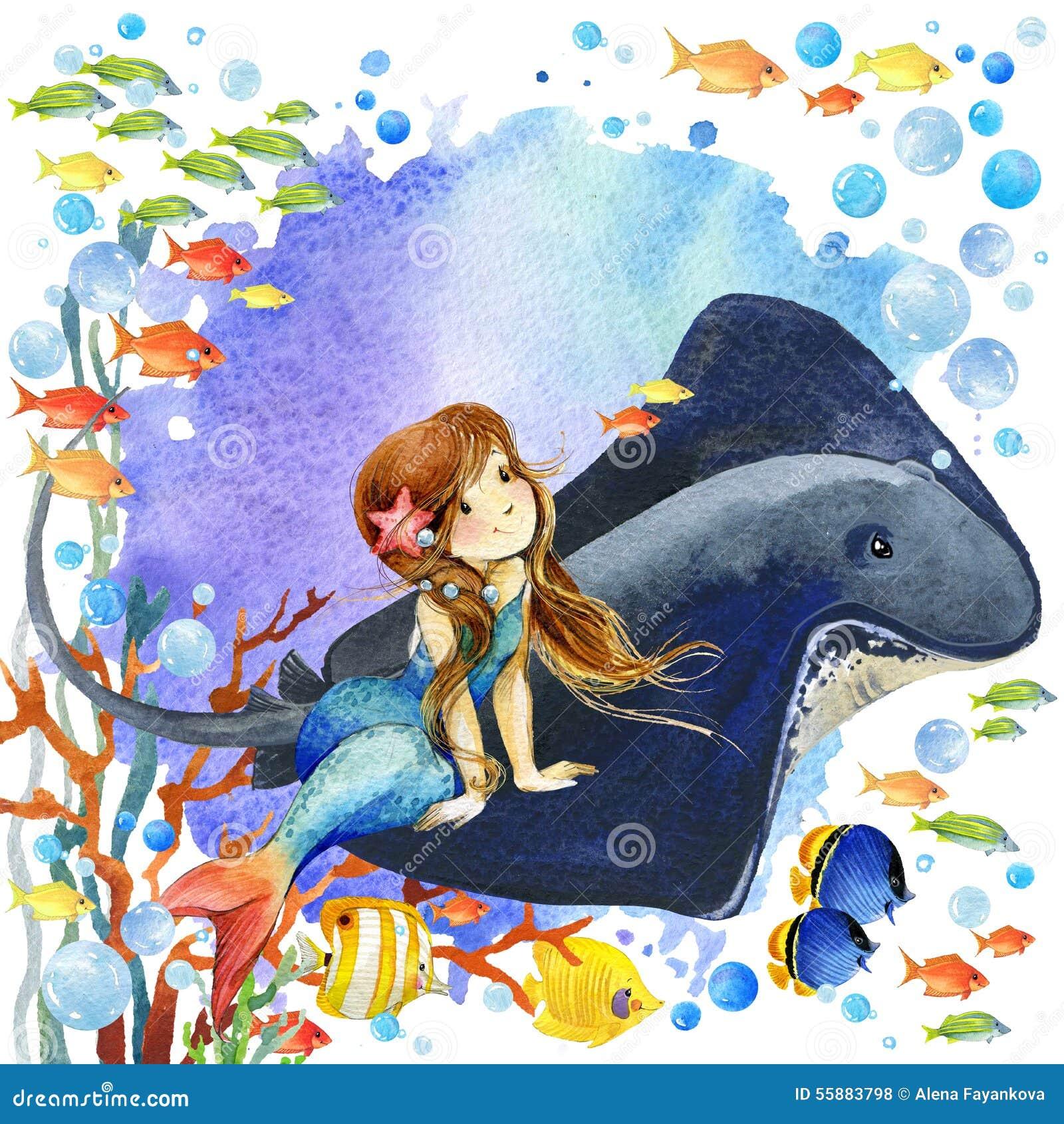 underwater world mermaid and fish coral reef watercolor