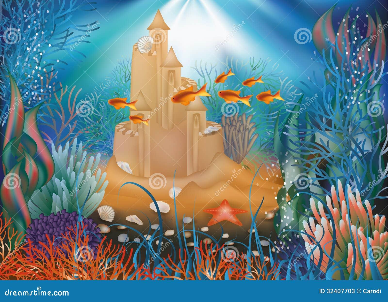 Underwater World Wallpaper With Sandcastle Stock Vector ...