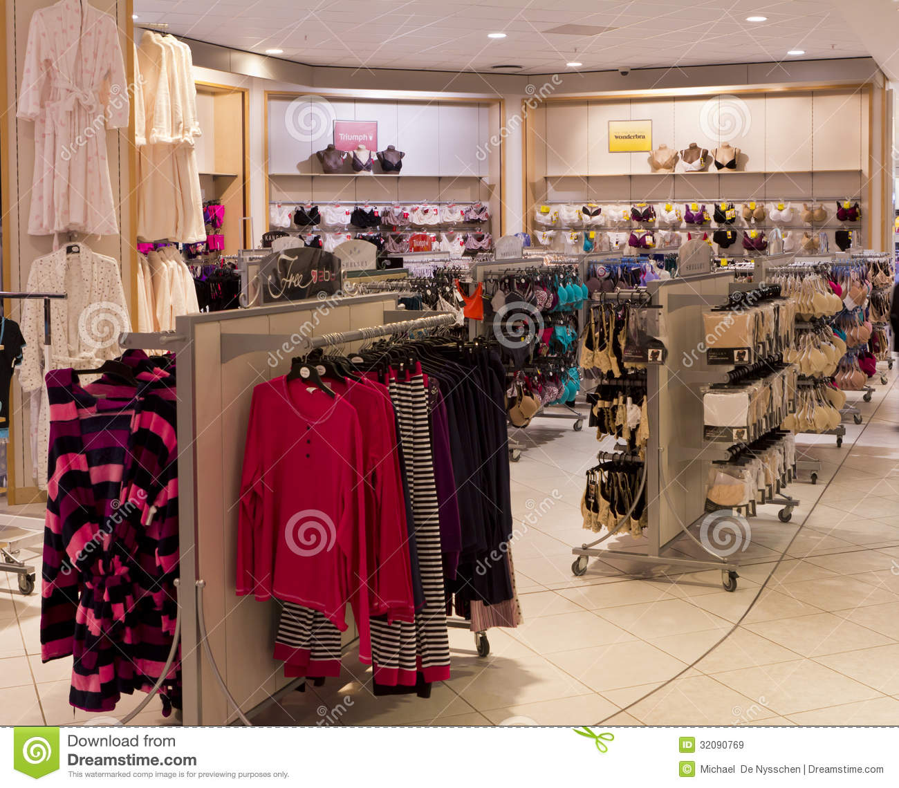 The underwear and sleepwear section for ladies in a clothing store