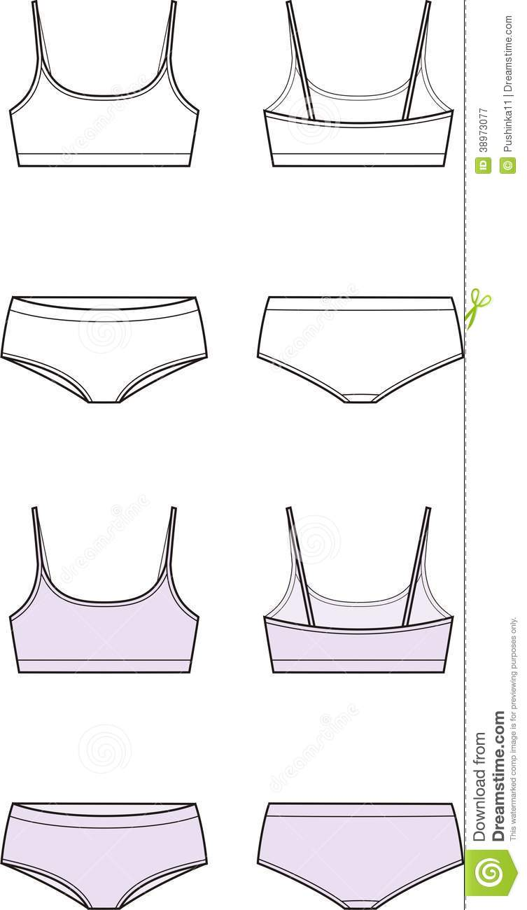 f35573e5be6ec Vector illustration of womens sport underwear. Bra and panties. Front and  back views