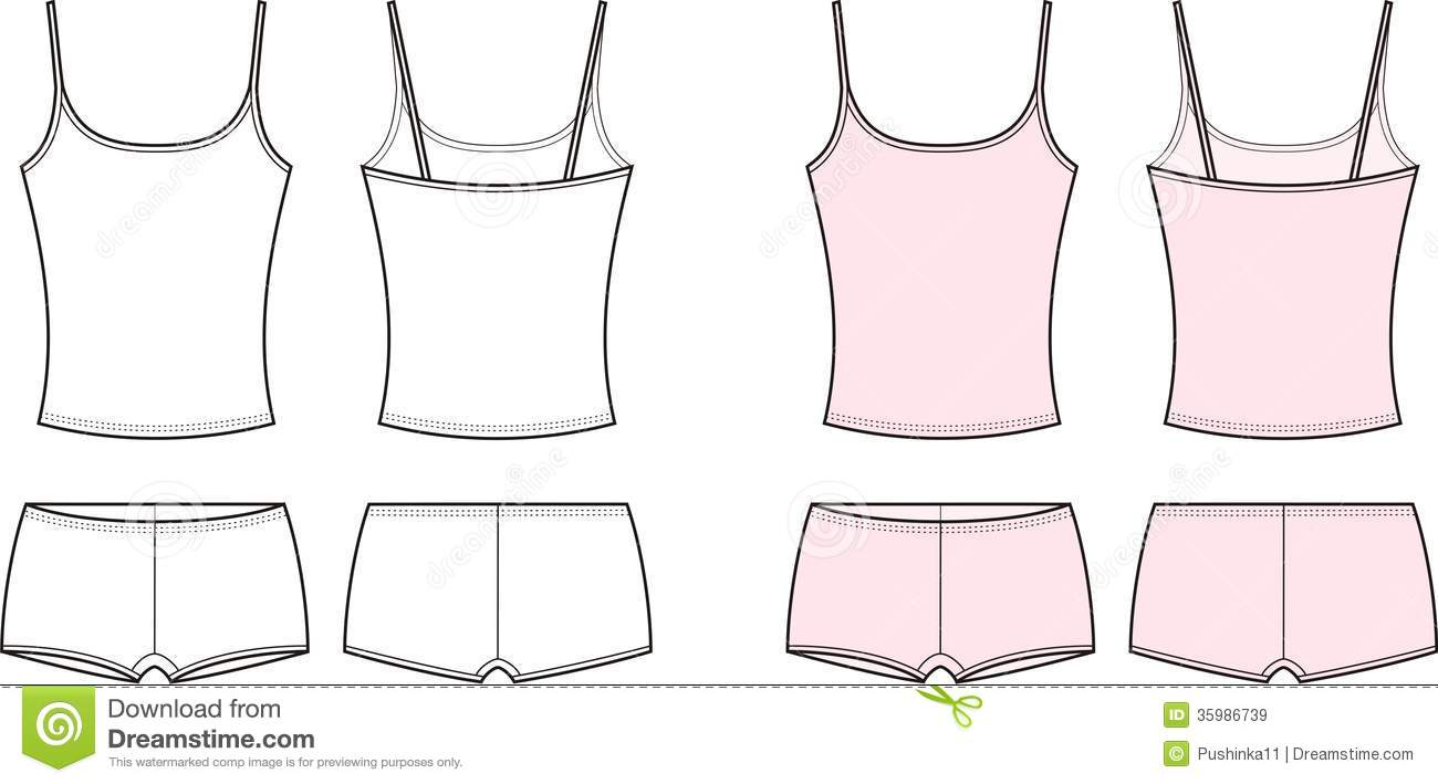 ea4ab7e67f421 Vector illustration of womens sport underwear. Singlet abd shorts. Front  and back views