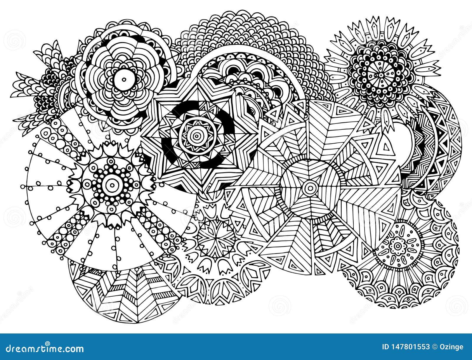 Undici cerchi ornati - disegno a tratteggio nero Immagine per le coperture, pagina di coloritura, carte, manifesti, carte da para