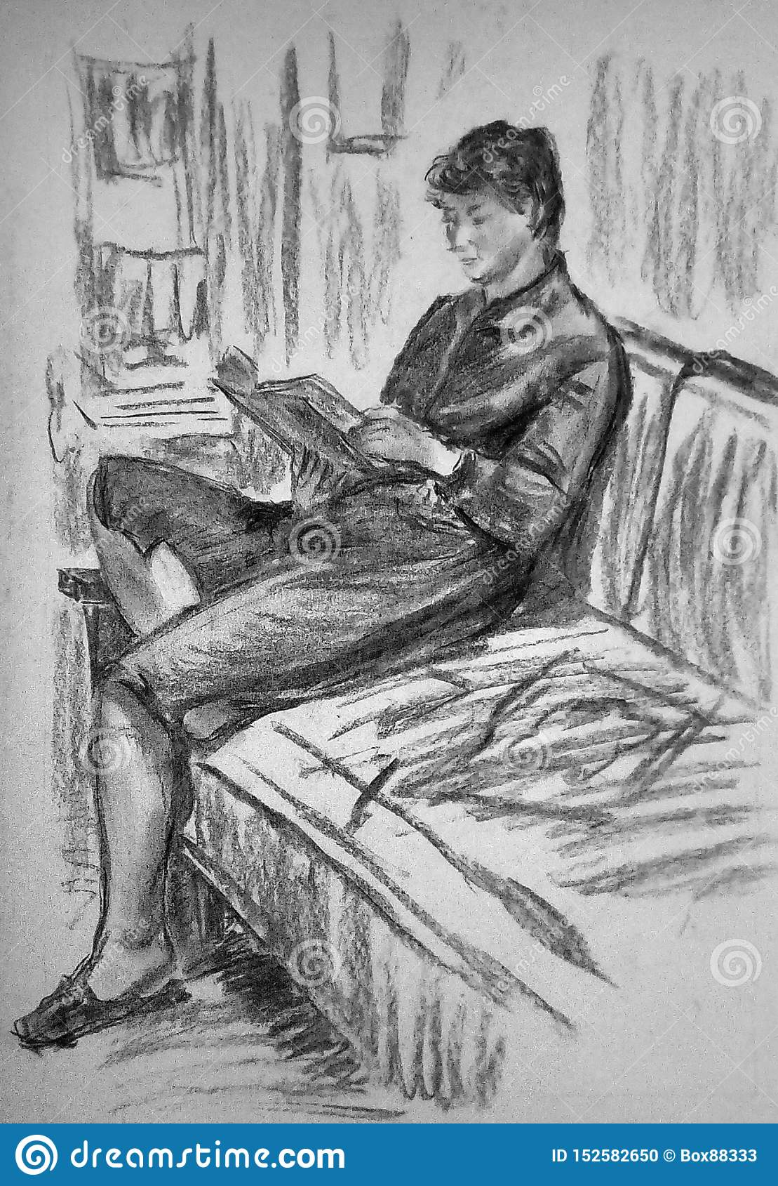 Une ébauche d une femme s asseyant sur un sofa dans une chambre