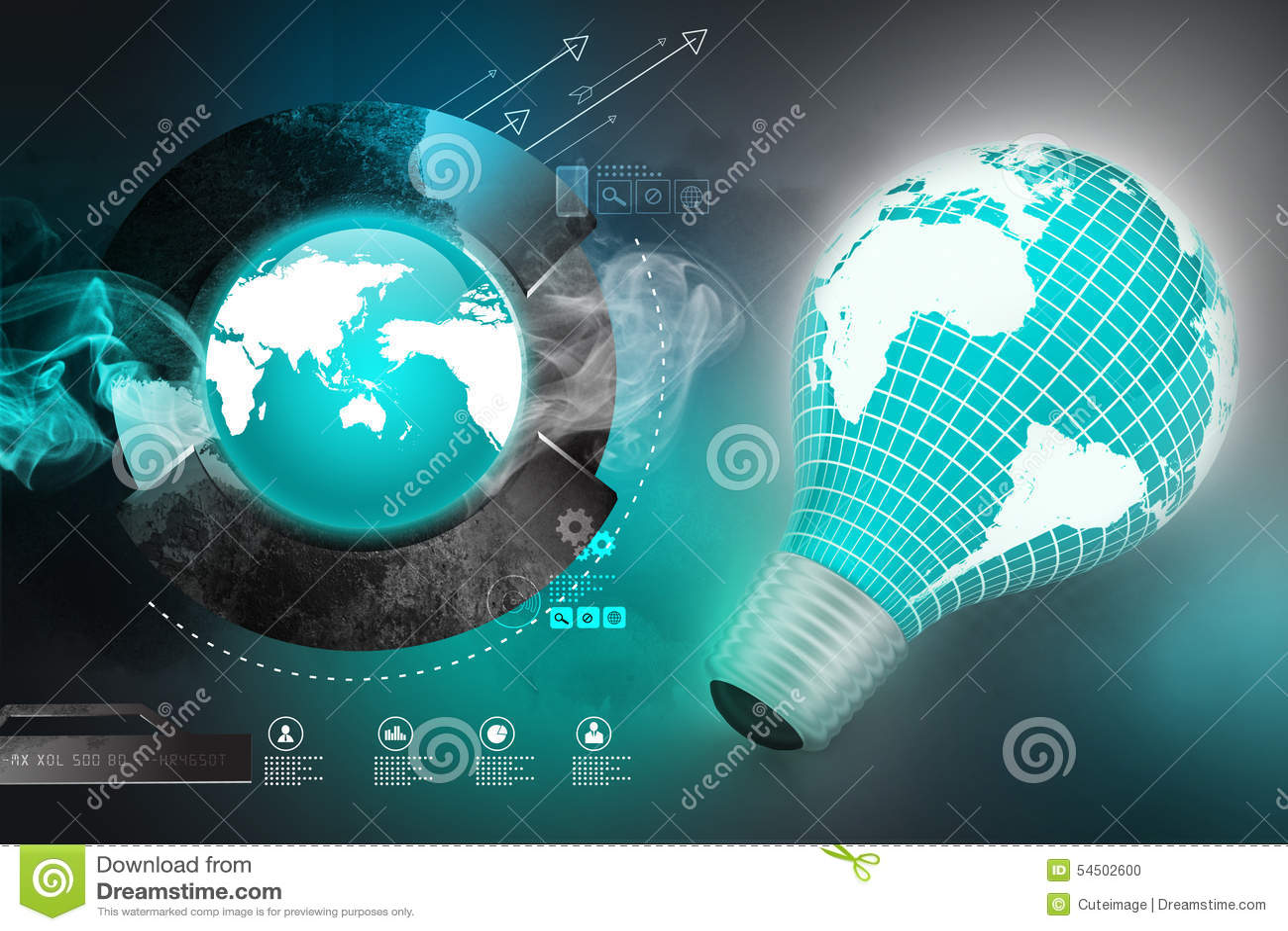 Une ampoule électrique avec une carte du monde