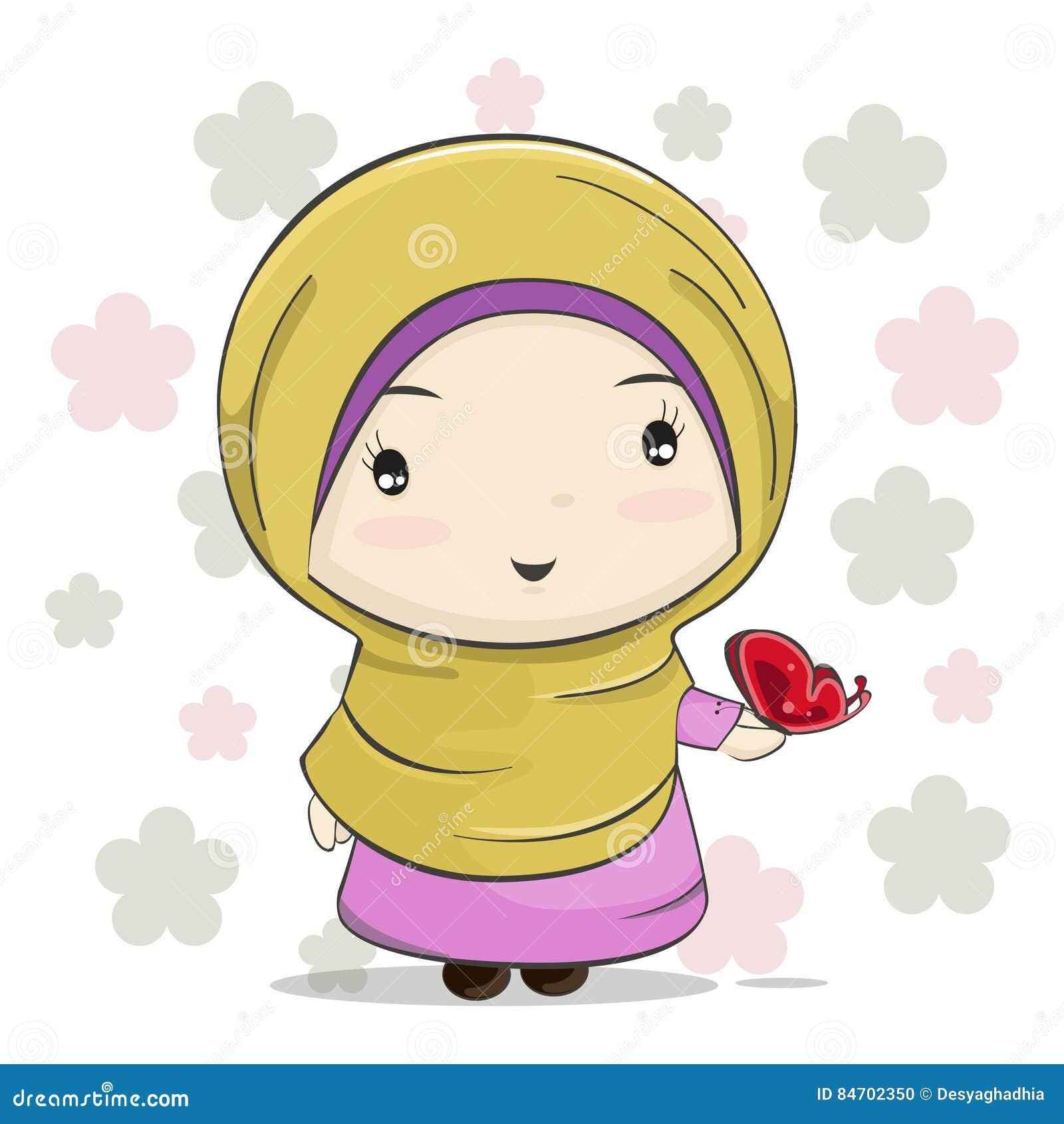 Une bande dessinée musulmane mignonne de fille avec le papillon rouge sur sa main