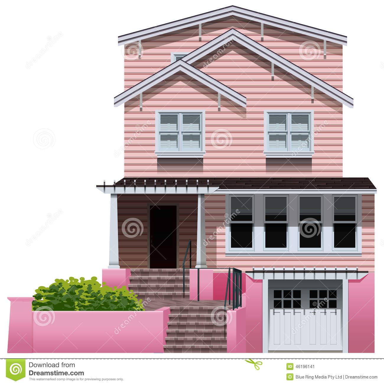 Illustration dune belle maison rose sur un fond blanc
