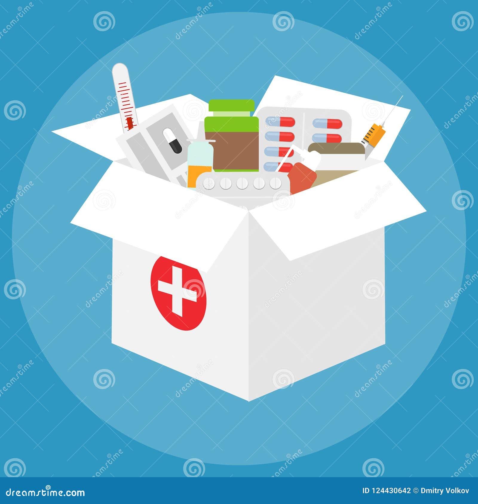 Une boîte de médecines Un grand boîtier blanc avec un ensemble de médecines