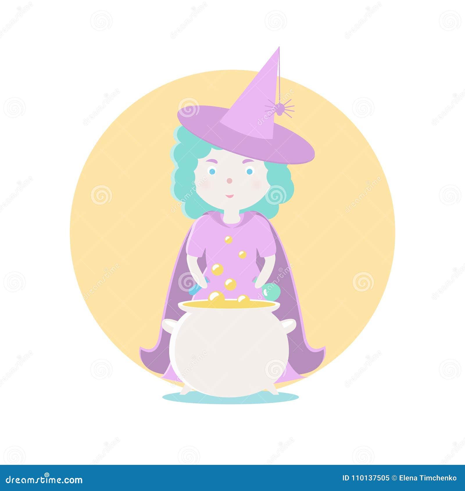 Une bonne sorcière prépare un breuvage magique magique Illustration de vecteur Sujets et caractères de conte de fées Objets sur a