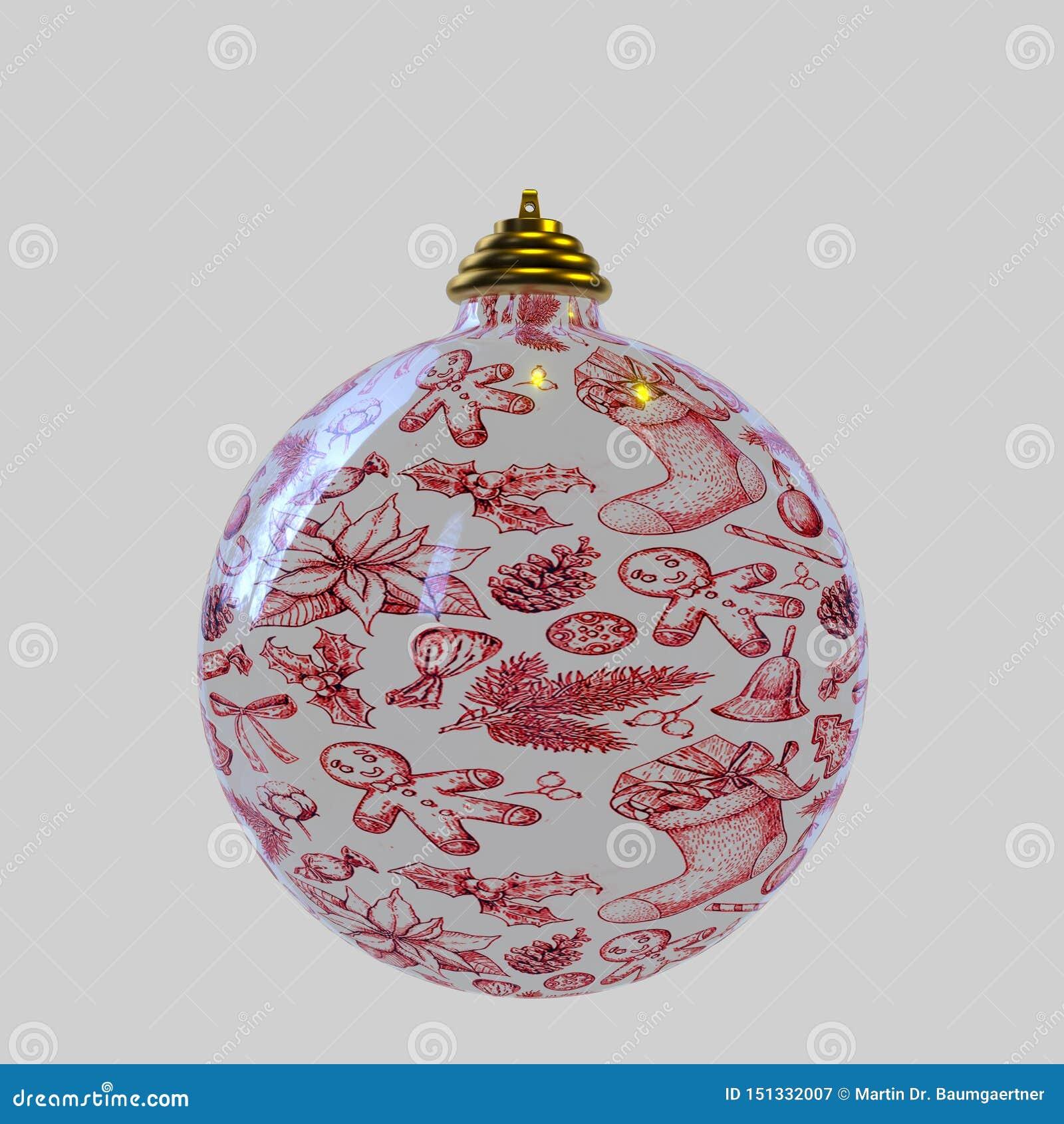 Une boule de Noël sur le fond blanc