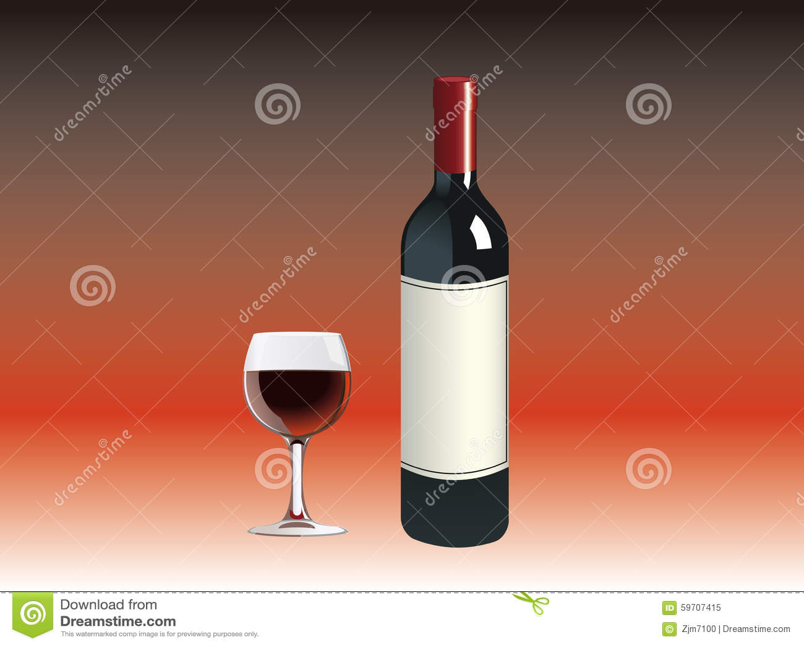 une bouteille de vin rouge une tasse illustration de. Black Bedroom Furniture Sets. Home Design Ideas