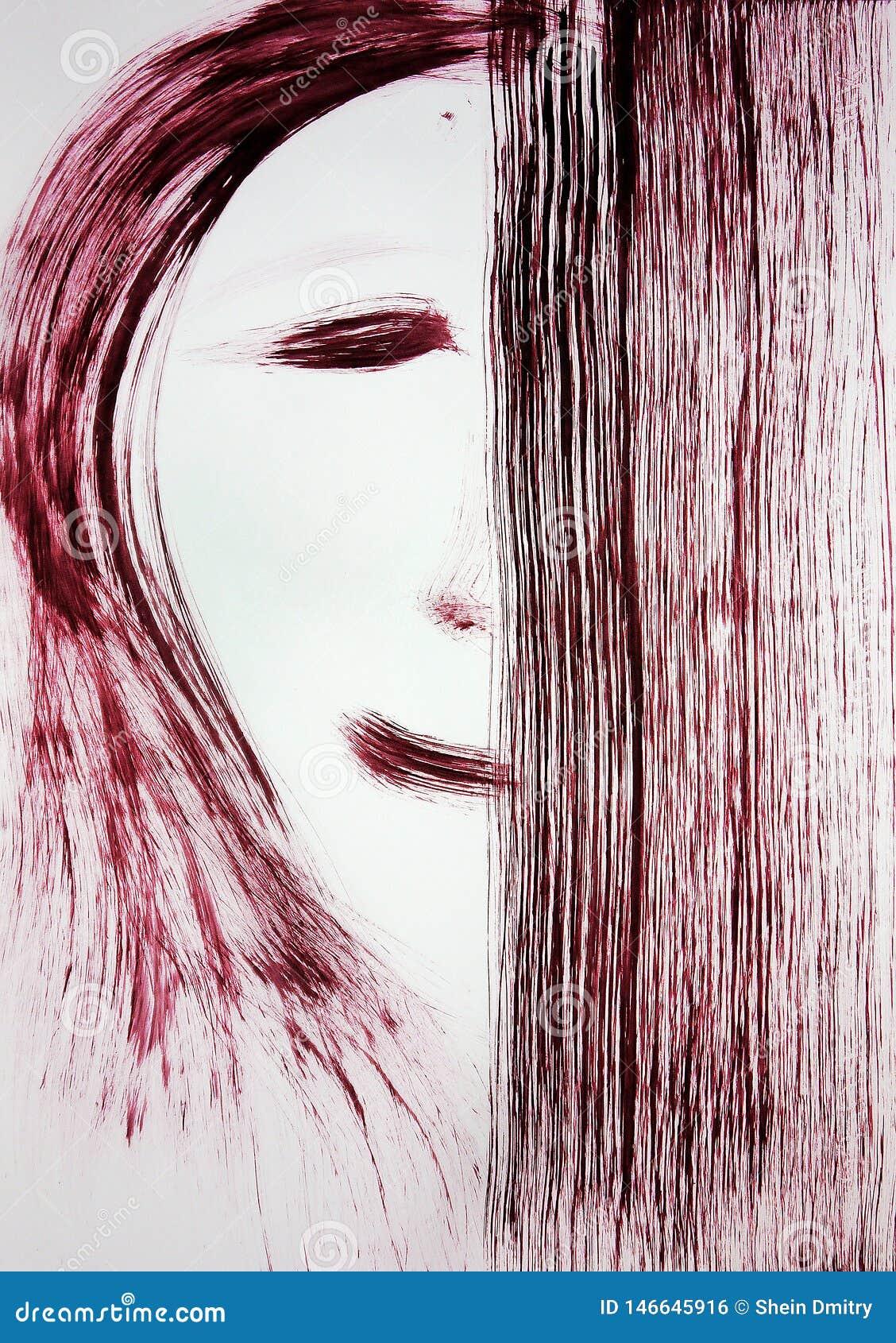 Une brosse dessine le visage d une personne, moitié du visage est couverte de rectangle ind?cision