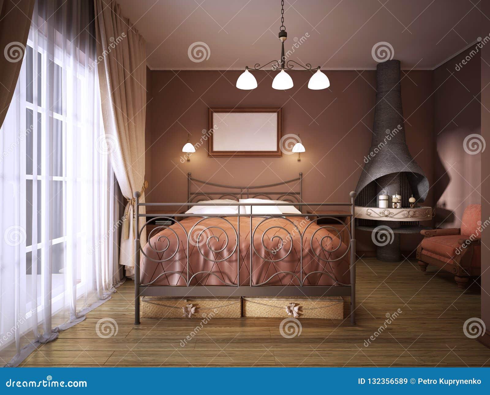 Deco Chambre Avec Lit En Fer une chambre à coucher brune foncée dans le style rustique