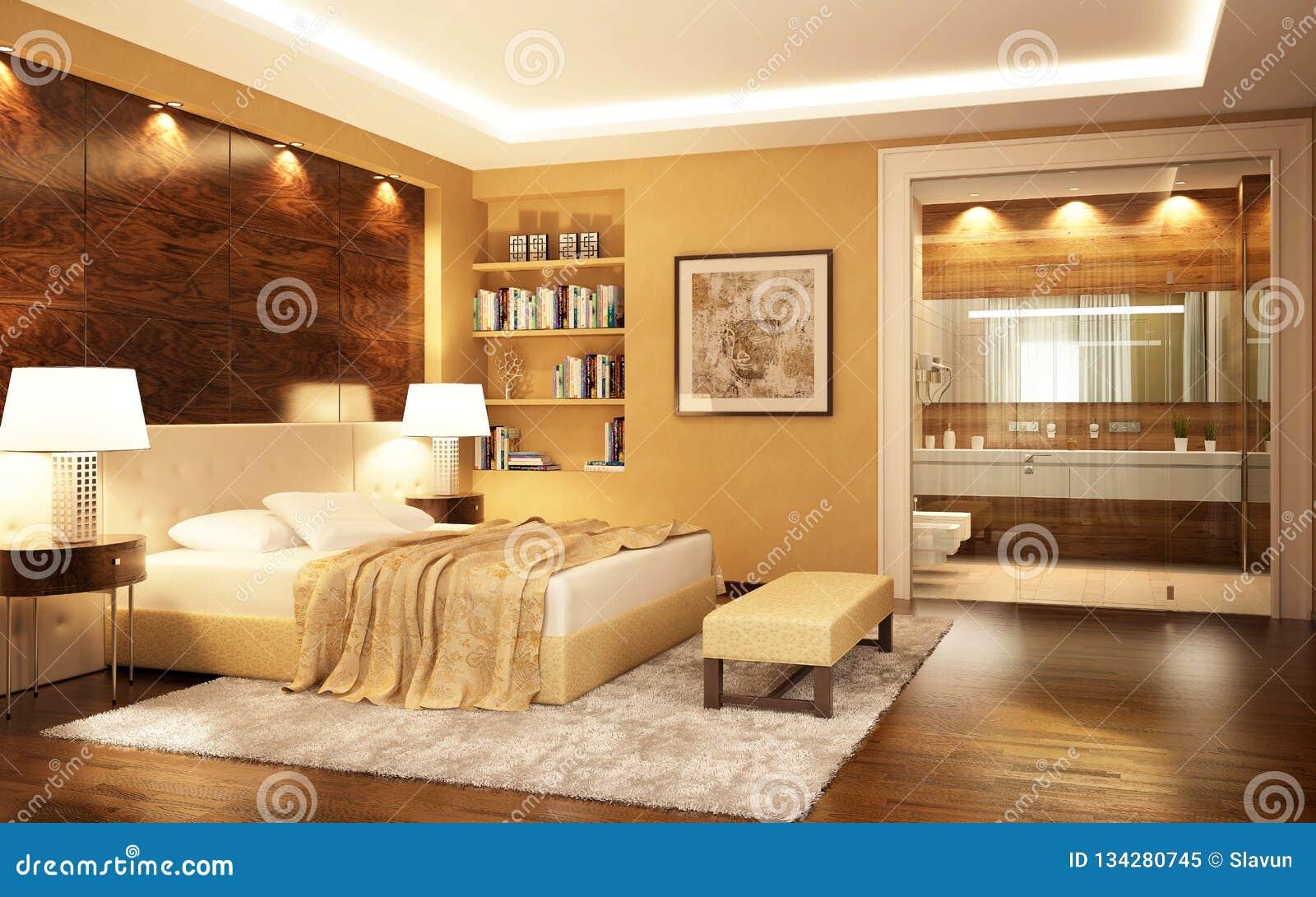 Une Chambre à Coucher Combinée Avec Une Salle De Bains Dans ...